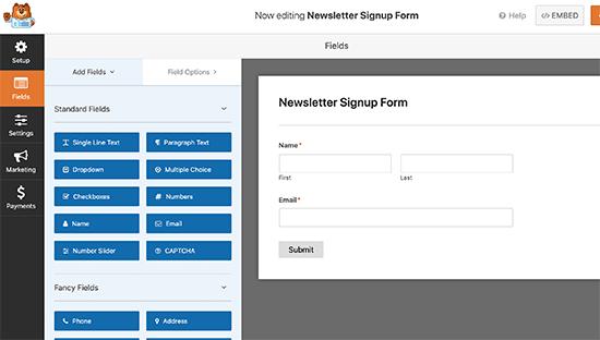 WPForms builder interface