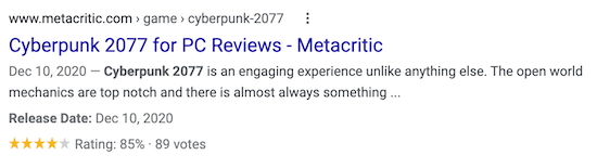 Gaming product review search results