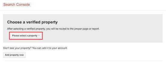 Select website property robots.txt tester