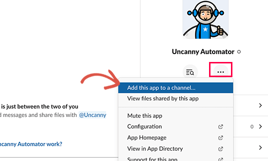 Add your app to a Slack channel