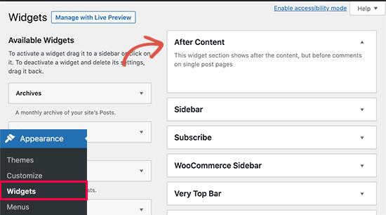 After content widget area