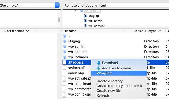 Edit the .htaccess file in WordPress