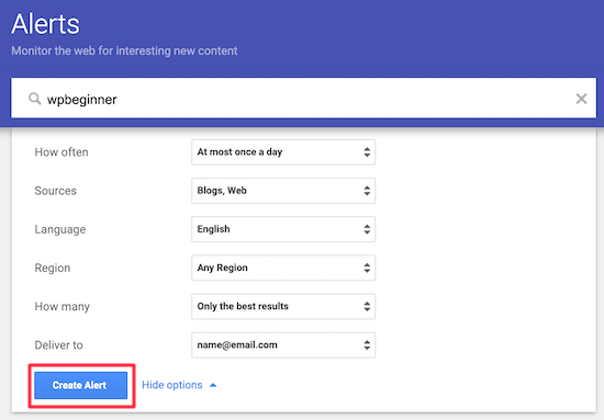 Set up Google Alerts stolen content