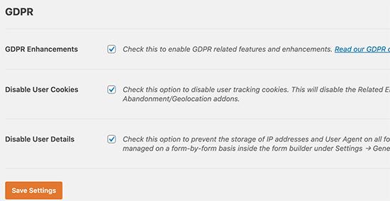 WPForms GDPR settings
