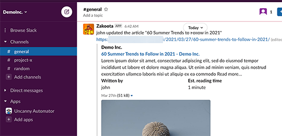 A WordPress notification displayed in a Slack channel