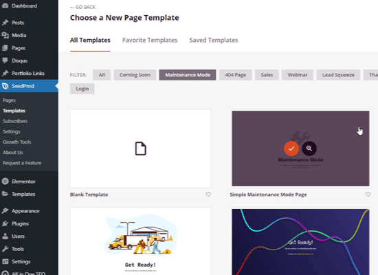 Choose a maintenance page template