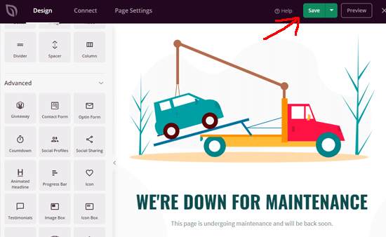 Saving maintenance page