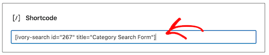 Add category search shortcode
