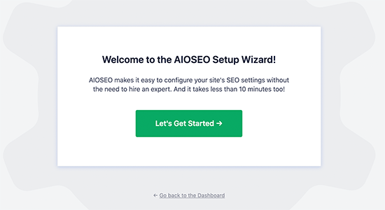 All in One SEO set up wizard