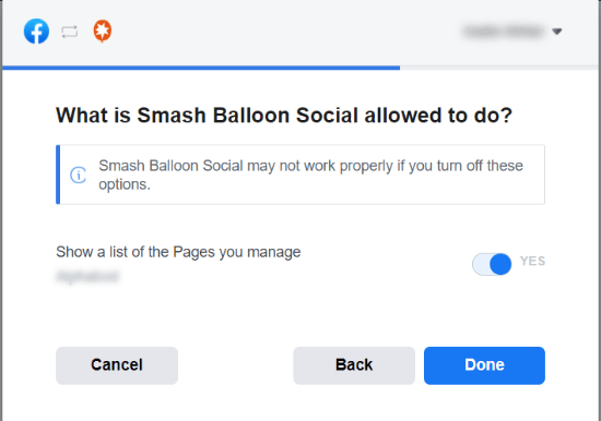 Allow Smash Balloon to use the page