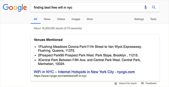 A rich snippet result in Google Search