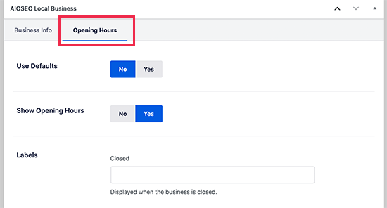 Setting business hours for each location