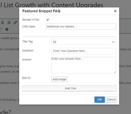 FAQ schema classic editor form
