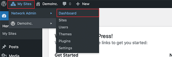 Network admin dashboard