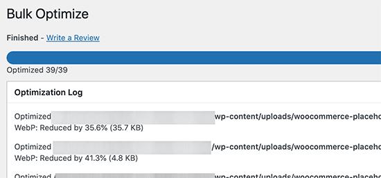WebP image conversion finished