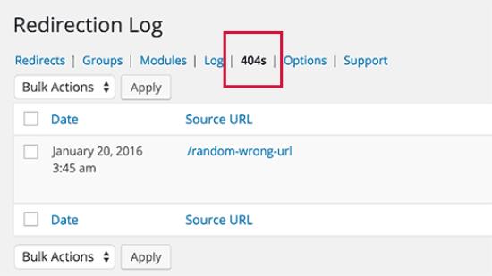 404 Logs in Redirection plugin