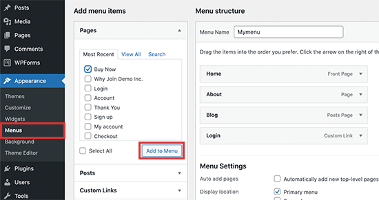Add a link to WordPress menu