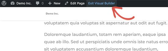 Exit visual page builder