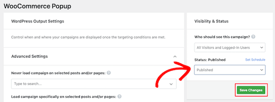 WooCommerce popup visibility settings