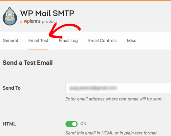 Go to the Email Test tab