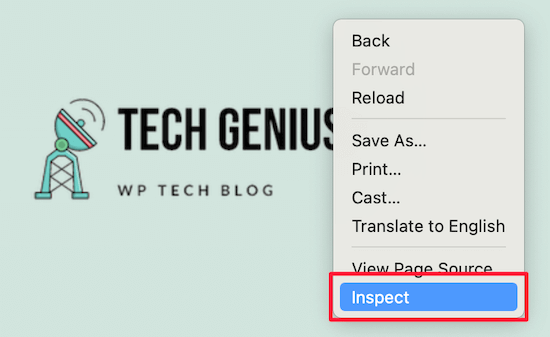 Right click inspect