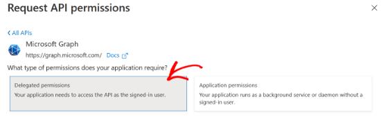 Select delegate permissions