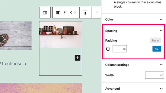 Adjust column spacing
