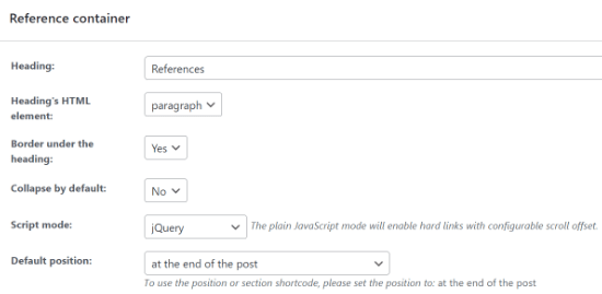 Reference Container settings