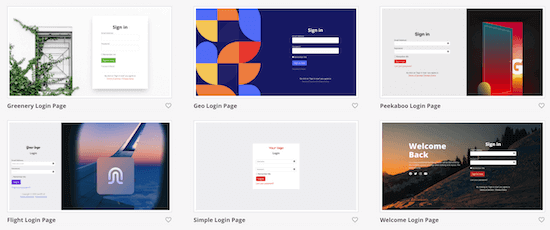 SeedProd login page templates