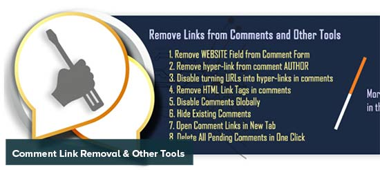 Comment link removal and other tools