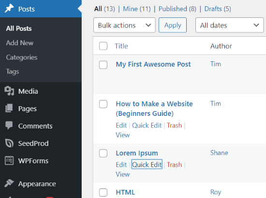Publicaciones antes de activar el plugin