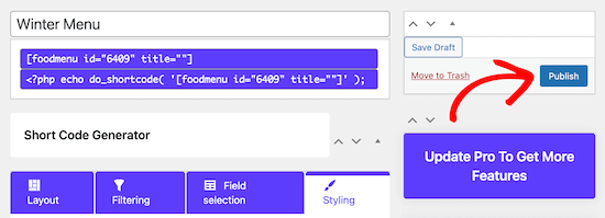 Publish menu shortcode