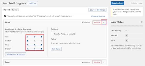 Adjust SearchWP slider settings