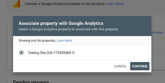 Choose associated Analytics property