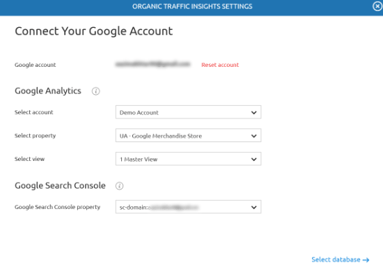 Enter Analytics and Search Console details
