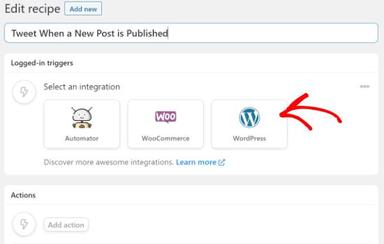 Select WordPress as your integration