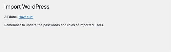 WordPress import successful