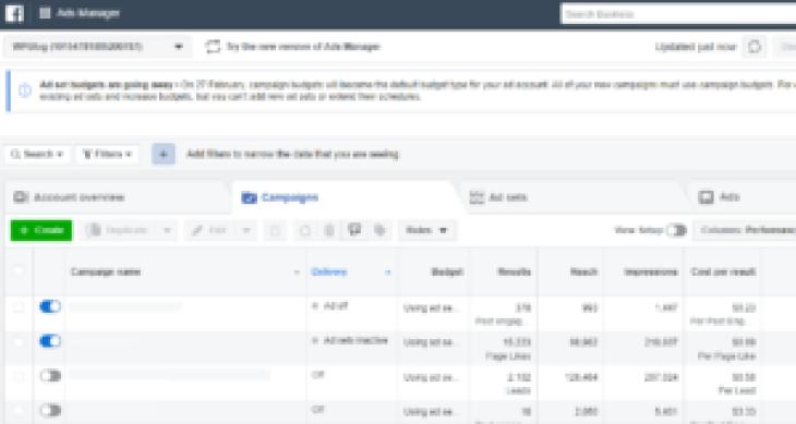dashboard degli annunci di Facebook