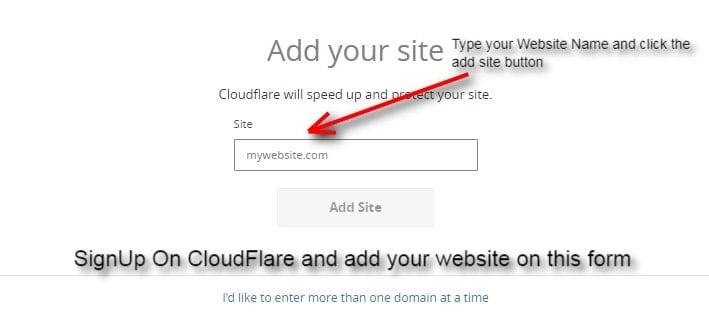 tambahkan situs web Anda dengan menggunakan formulir cloudflare ini
