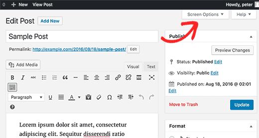 pilih opsi layar wordpress