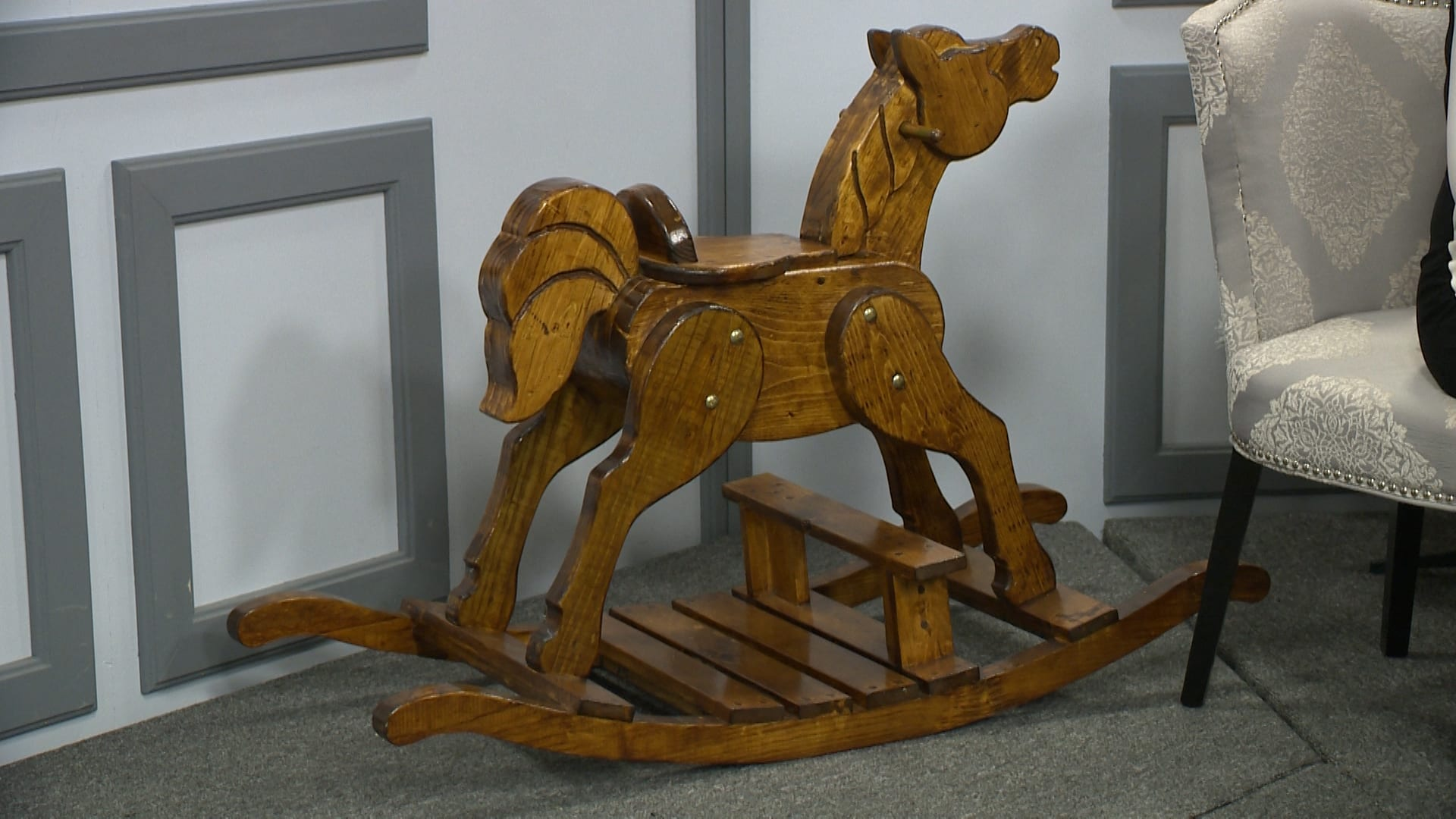 WOODEN ROCKING HORSE <br/> Donated by: JOSEPH SLATE <br/> Valued at: $375