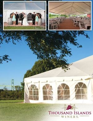 WINERY EVENT TENT <br/> Donated by: THOUSAND ISLANDS WINERY <br/> Valued at: $2,500 <br/> Buy It Now: $250