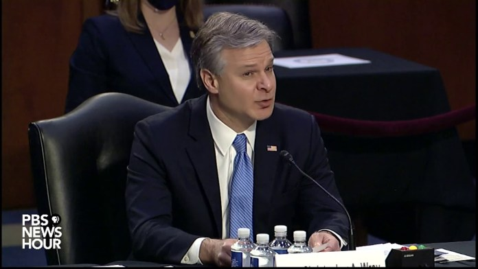"""WATCH: FBI Director Wray says he was """"appalled"""" by Jan. 6 """"domestic terrorism"""" attack"""
