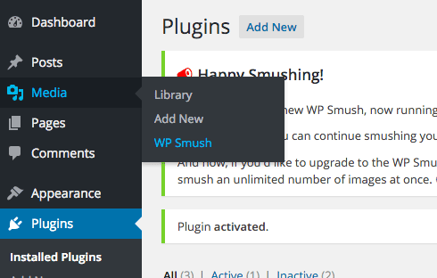 You can access WP Smush from the Media menu.