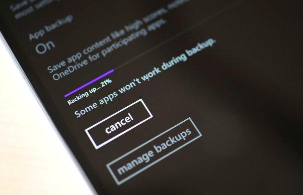 Backing up on Windows Phone 8.1