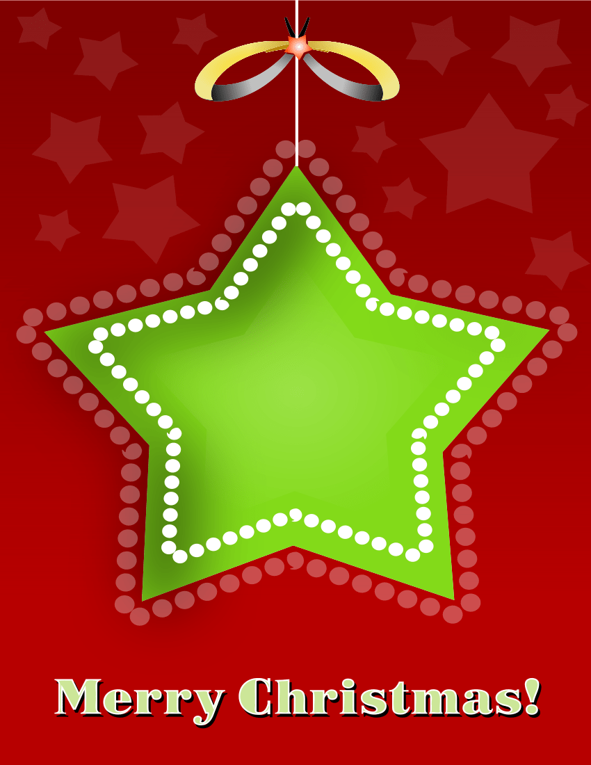 Christmas Card Star Red Green HolidayChristmas