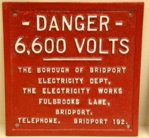 SWEHS000281.jpg - Date c1930/40's - Manufacturer unknown Affixed to substations..