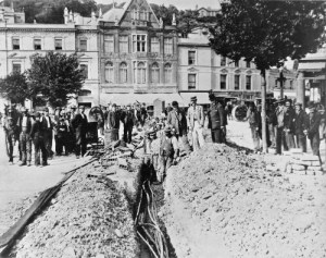 SWEHS 18.1.001.jpg - Date 1897 - Torquay, first cables being laid from The Strand to Beacon Quay electricity works Devon, Torquay .