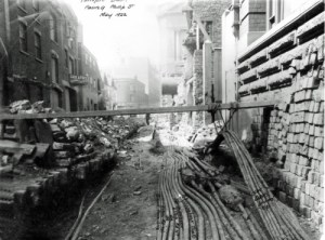 SWEHS 3.1.045.jpg - Date 1922 - Extensive cable works in Temple Back facing Phillip Street. On the photograph, the cables have been identified in ink and is signed BCED. Bristol, Temple Back .