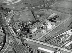SWEHS 3.1.052.jpg - Date 23/051928 - Aerial photograph showing Feeder Road Electricity Works (Generating Station). Bristol, St. Phillips The generating station was orginally called 'Avonbank' but was renamed in 1916 as Feeder Road Electricity Works to avoid confusion with 'Avonmouth'. Many rail deliveries had previously been delivered to the wrong address..
